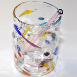 Pick glass straw with blue color end