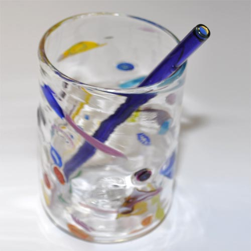 Blue Straw Yellow end in Colorful Glass
