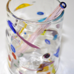 Pink glass straw with blue end color