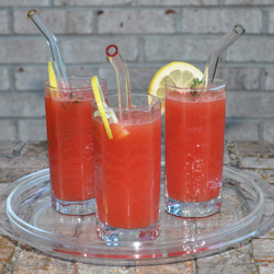 Smoothie glass straws in a watermelon drink